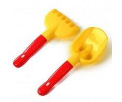 Набор лопатка и грабли, желтый, код 42603
