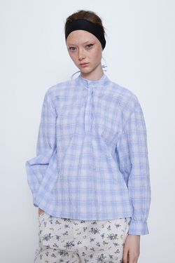 Блуза ZARA Голубой/Белый 2491/913/044