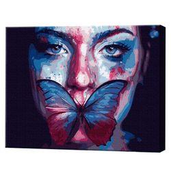 Fluture pe buze, 40х50 cm, pictură pe numere Articol: GX38169
