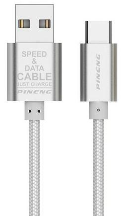 купить Кабель для моб. устройства Pineng PN-312 Rapid Type-C 1.0m Silver в Кишинёве