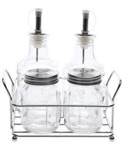 купить Мельница для соли и перца Excellent Houseware 38803 Менажница 5ед (масло/уксус/соль/перец/подс) стекло, метал в Кишинёве