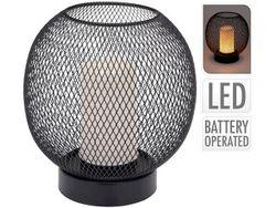 Лампа настольная с LED свечой H19cm, D18cm, черная, на батар