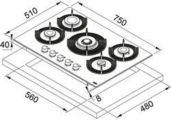 Газовая панель Franke FHMF 755 4G DC C CD