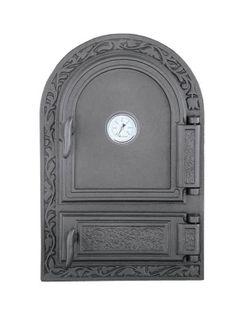 Дверца чугунная глухая правая с термометром DW10Т