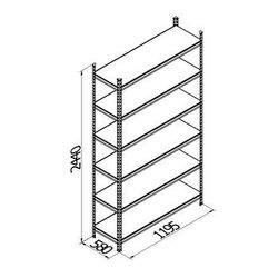 Raft metalic galvanizat Gama Box 1195Wx580Dx2440H mm, 6 poliţe/0164PE antracit