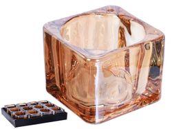 Подсвечник 5X5X4cm, стекло, золотой перламутр