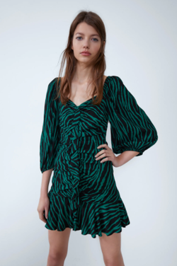 Платье ZARA Черный/зеленый 7455/331/031