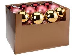 Glob pentru brad 120mm mat, lucios, bordo, roz-deschis, auriu
