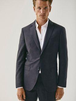 Пиджак Massimo Dutti Темно серый 2001/321/801