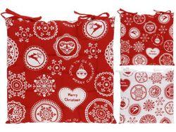 Подушка для стула/табурета 40Х40сm рисунок рождеств, красн-б
