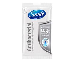 Влажные салфетки Smile Антибактериальные со спиртом, 15 шт.