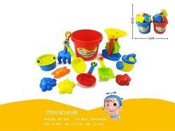 Набор игрушек для песка в ведерке с мельницей 13 ед, H28cm
