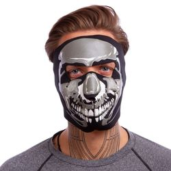 Masca protectie fata /antrenament alergare/ windproof MS Chrome Skull   (neopren, black) (3836)