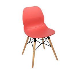 Пластиковый стул, деревянные ножки с металлической опорой, 495x455x750 мм, красный
