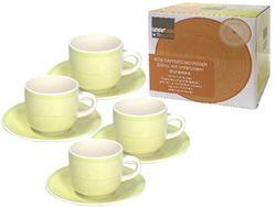 Set cani 4buc 220ml pentru ceai cu farfurii Gypsy Lime, in cutie cadou