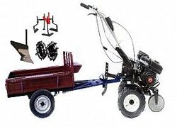 Set motocultivator TECHNOWORKER HB 700S+ Remorca RK500 + plug simplu + roti metalice 4*8 + prasitoare