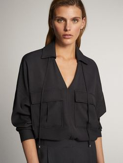 Блуза Massimo Dutti Темно серый 5163/570/401