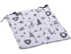 Подушка для стула/табурета 40Х40сm рисунок с оленями, белая