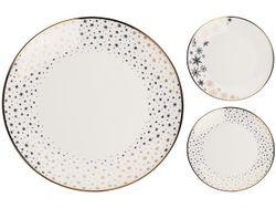 Тарелка десертная 20cm Gold Rim Stars, белая, фарфор
