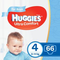 Scutece Huggies Ultra Comfort pentru băieţel 4 (8-14 kg), 66 buc.