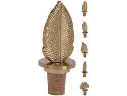 Пробка для бутылки Лист, 9.5X4cm, металл, золотой