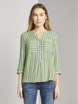 Блуза TOM TAILOR Зеленый в полоску 1016190 tom tailor