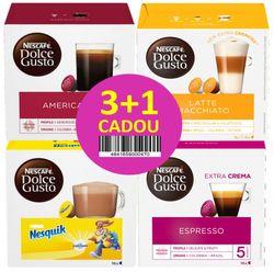 cumpără Cafea Dolce Gusto Espresso 88g + Nesquik 256g + Latte Macchiato 183,2g + Gusto Americano 128g Gratis în Chișinău