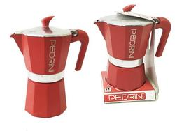 Кофеварка на 6 чашки Pedrini, алюминиевая красная