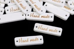 Wooden tag Handmade / white