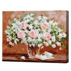 Букет в вазе, 40х50 см, картина по номерам