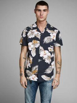 Рубашка JACK&JONES Темно синий с принтом 12154411