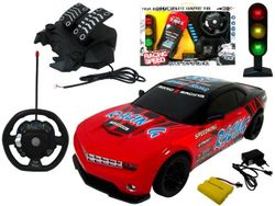 Set de masini R/C baterii, semafor, volan, pedale 50X32.5cm
