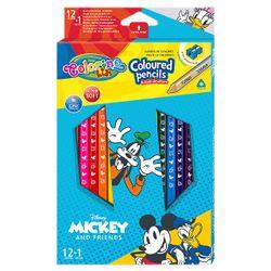 Набор цветных карандашей + 1 карандаш с 2 цветами серебро / золото - Colorino Dinsey Mickey Mouse