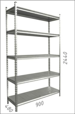 Стеллаж металлический с металлической плитой Gama Box 900Wx480Dx244H0 мм, 5 полок/MB