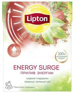 Чай в пирамидках Lipton Energy Surge Tea зеленый c травами, гуараной, кардамоном и лакрицей, 20 шт