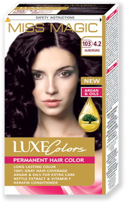 Vopsea p/u păr, SOLVEX Miss Magic Luxe Colors, 108 ml., 103 (4.2) - Roșu-violet