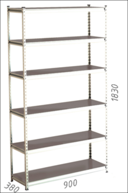 Стеллаж металлический Moduline 900x380x1830 мм, 6 полок/0112PE серый