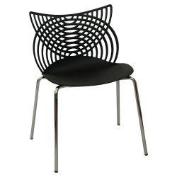 Пластиковый стул с хромированными стальными ножками 530x590x840 мм, черный