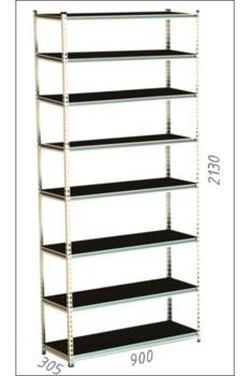 Стеллаж металлический Moduline 900x305x2130 мм, 8 полок/0164PE антрацит