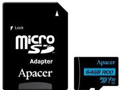 Сard de memorie Apacer microSDXC UHS-I U3 V30 R100 64GB +Adapter RP (AP64GMCSX10U7-R)