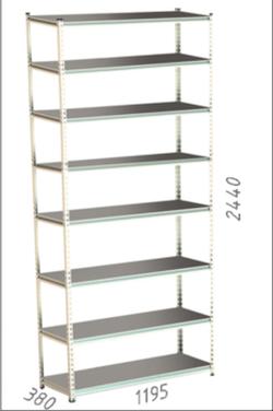 Стеллаж металлический Moduline 1195x380x2440 мм, 8 полок/0112PE серый