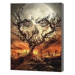 Дерево-череп на Хэллоуин, 30x40 см, алмазная мозаика, GB73548