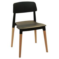 Пластиковый стул, деревянные ножки 475x485x750 мм, черный