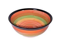 Salatiera 19cm dungi multicolore, din ceramica