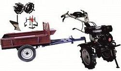 Набор мотоблок TECHNOWORKER HB 700RS ECO+Прицеп RK500 + плуг простой + металлические колеса 4*8 + мотыга