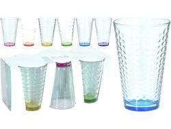 Набор стаканов с цветным дном 6шт 300ml, D8cm, H12.2cm