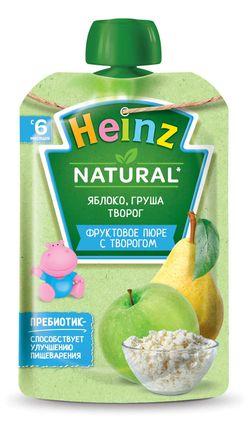 Пюре HEINZ Яблоко, груша, творог 90г (6 месяцев)