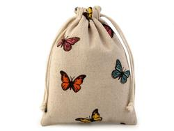 Linen gift bag with butterflies