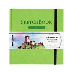 Sketchbook pentru acuarelă Malevich,Waterfall, verde 200 gm 14,5х14,5 cm, 40 foi