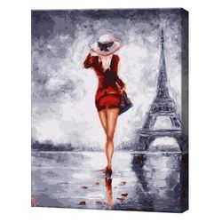 GX4338 Singură în Paris Pictură pe numere 40х50 cm